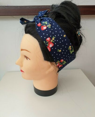 Rockabilly Style 50s Headscarf Strawberries and Polka Dots