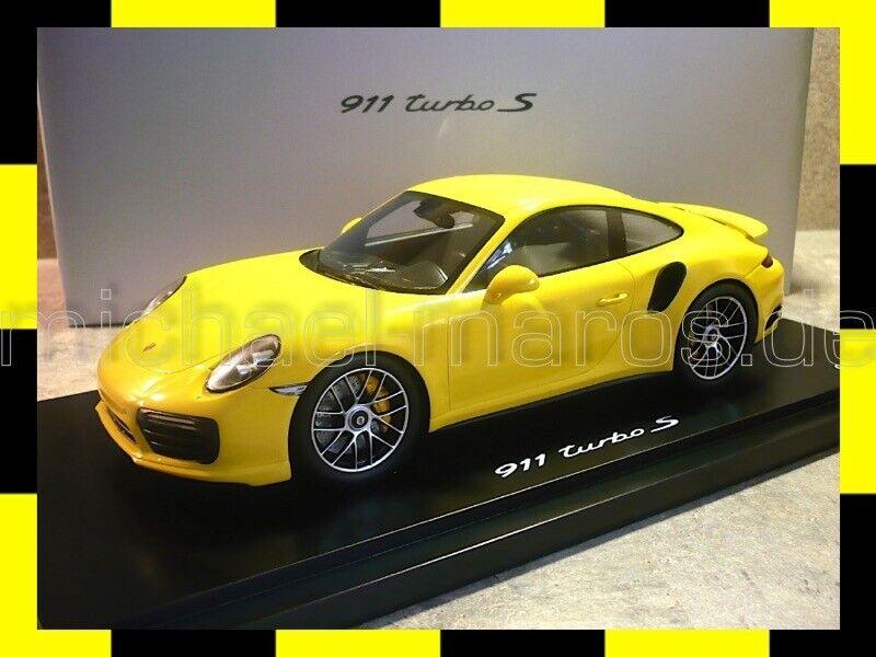 PORSCHE 911 II 991.2 TURBO S RACING GIALLO YELLOW SPARK 1:18 PROMO Dealer Edition