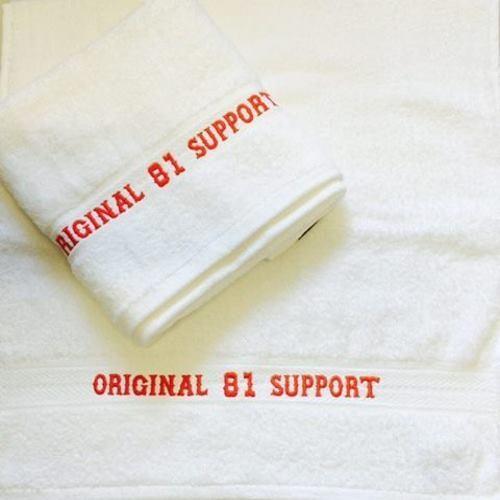 Hells Angels original 81 support toalla 50x100 blanco rojo bordado