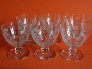 6 Anciens Verres A Vin Cristal Dans Le Gout De Baccarat Art Deco Ht 7,5 Cm Forme éLéGante