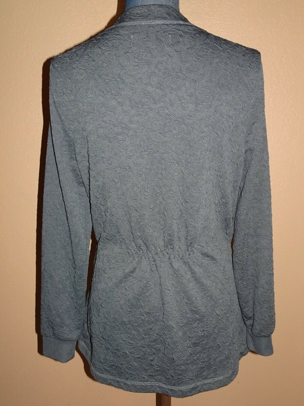 KOI Claire Charcoal Gray Button Front Knit Scrub … - image 4