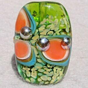 TART Handmade Art Glass Focal Bead Flaming Fools Lampwork Art Glass SRA