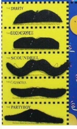 Faux NOIR Moustache Mexicain années 70 Stick accessoire robe fantaisie Pack De 6 Taille Unique