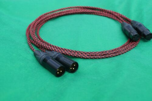6 FT SILVER PLATED MIL-SPEC MIC BALANCED XLR BRAIDED SLEEVE PAIR CABLE.