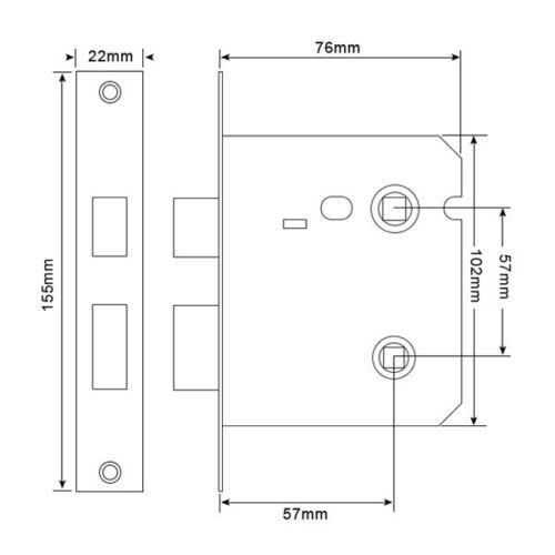 63mm et 76mm Boulon Verrou Salle Bain par mortice-chrome brossé