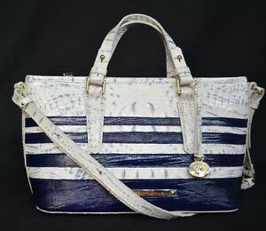 NWT-Brahmin-Mini-Asher-in-Stonewash-Vineyard-White-Blue-Genuine-Embossed-Leather