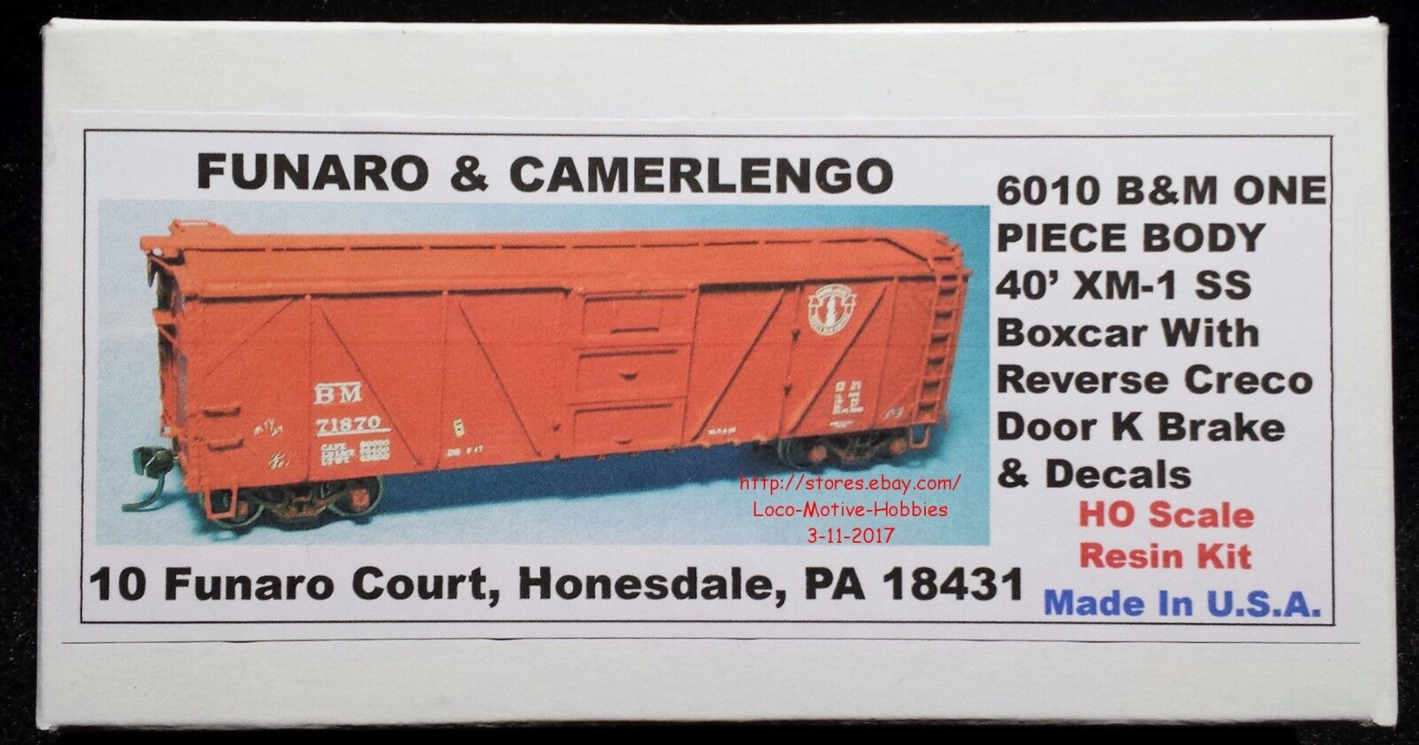 Funaro F&C 6010 BOSTON MAINE 40' XM-1 Wood B&M BM Boxcar Creco Door K Brake 1 PC