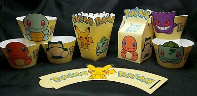 24PCS Party Popcorn boxes for Pokemon Pikachu Themed Kids Adults Birthday Party Treat Box Candy Cookie Containers Party Favor Supplies Decorations