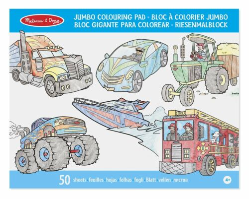 Melissa /& Doug Jumbo Colouring Pad Vehicles 50 Pages of White Bond Paper 14205