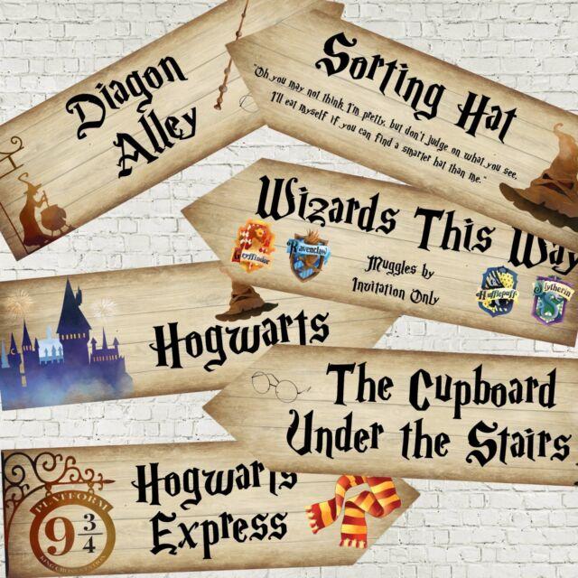 6 Harry Potter Poudlard Wizards Fête Decoration ARROW Signs