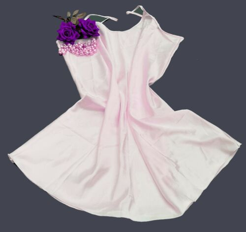 N52 Knee Length Nighty Luxury Glossy Satin Night Dress Pink Size 22//24