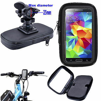 25mm Handlebar Mount Bike Bicycle Phone Waterproof Pouch Case Cover Stand Holder
