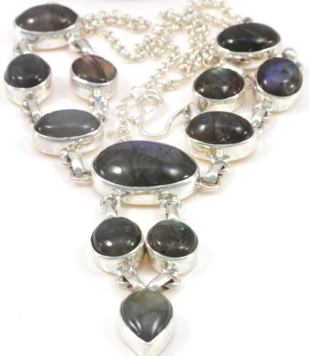 Labradorite Necklace Jewelry Genuine 925 Sterling Silver Artisan Handcrafted