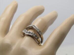 Rhinestone-Pointed-Wedding-Ring-Enhancer-Silver-Tone-Size-7-5