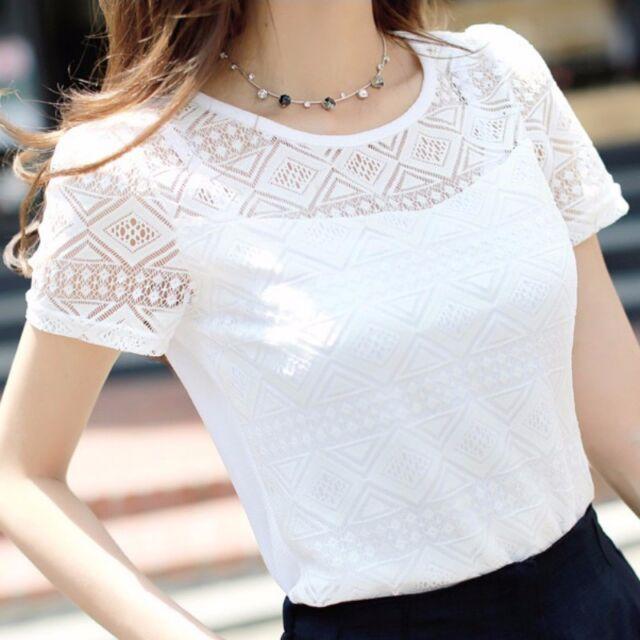 Summer Fashion Women Elegant Lace Blouse Femme Chiffon Shirts Tops Short Sleeve