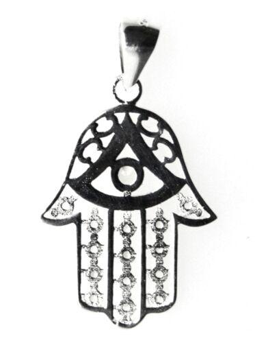 Hamsa Fatima Hand der Fatima-Khamsa-Massiv 925 Sterling Silber Anhänger Opt