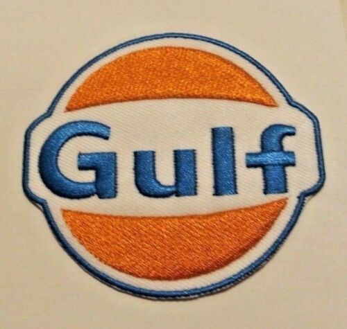 """Gulf Oil Patch~Car Auto Racing~3 1//8 x 2 7//8/""""~Embroidered~Iron Sew~Ships FREE"""