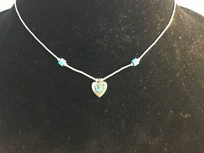 delicate valentine jewelry Native American Navajo TURQUOISE HEART PENDANT Sterling Silver Necklace signed sterling silver chain