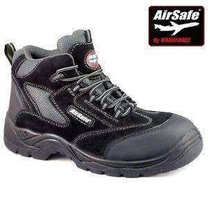 14 Airsafe cuero de punta Sz 6 Zapatos de con seguridad para trabajo hombre Botas Negro Zapatillas compuesto de material de U01Wpq