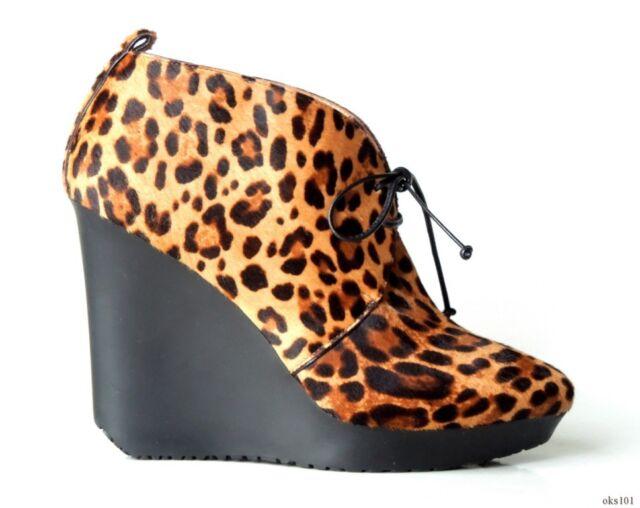 34110f1bc2e new  900 JIMMY CHOO animal-print calf hair wedge ANKLE BOOTS 37.5 7.5  -gorgeous