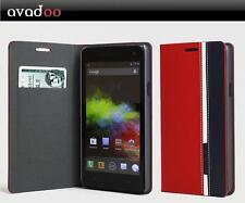 avadoo® Wiko Rainbow 4G Flip Case Cover Rot-Blau als Tasche Hülle