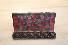 Red Mosaic Glass Business Card Holder Some Weardamage On Top