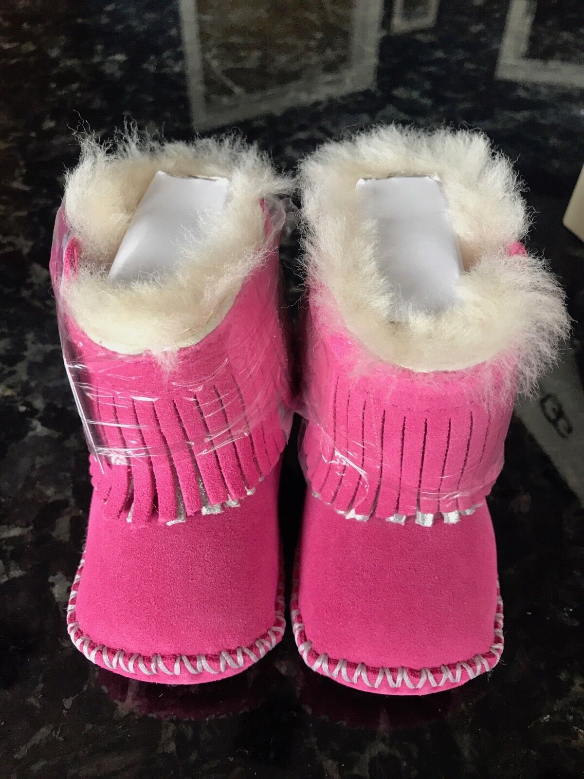 352991cbd8f UGG Australia Baby BOOTIES Girls BOOTS Pink Size 0/1 Infant Cowboy Suede 1