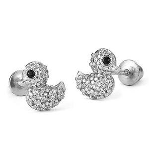 .925 Sterling Silver Children Baby Duck Screw Back Girls Earrings