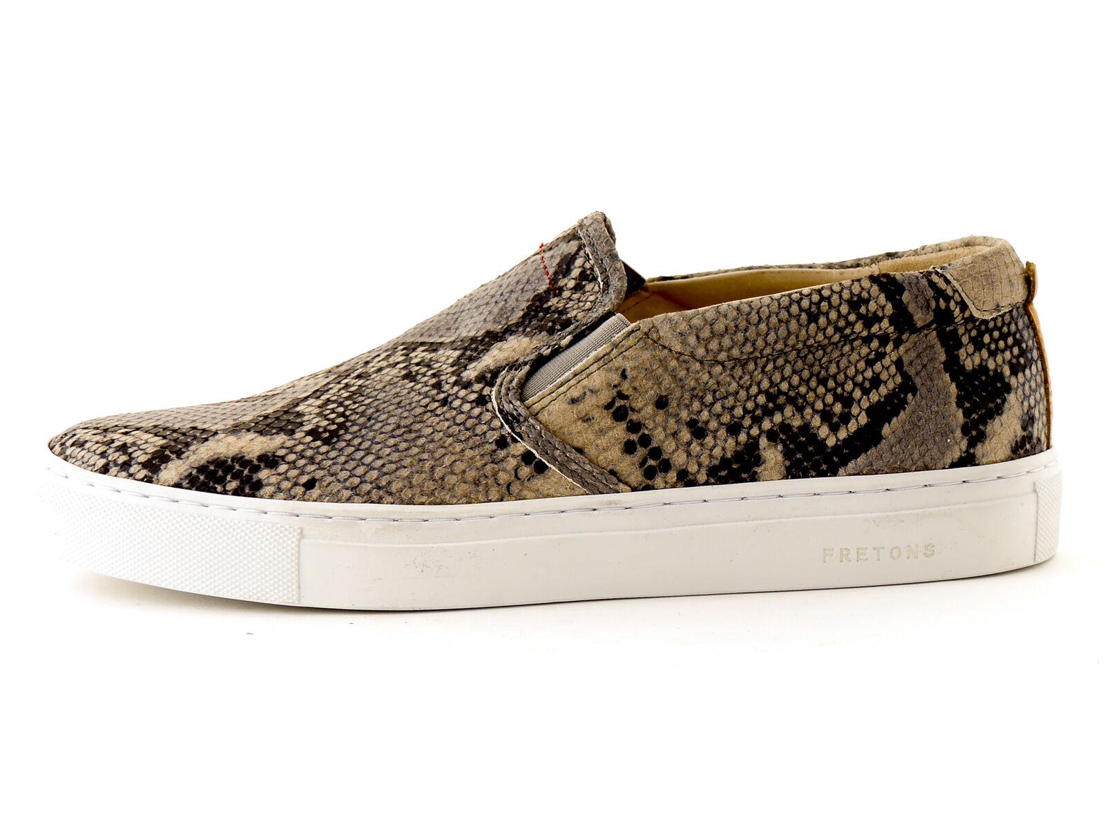 Fretons Schuhe Slipper Leder Slip On grau Schlangenmuster Leder Slipper Gummi Patch f164d1