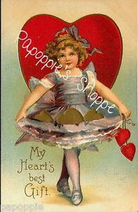 Valentine/'s Day Fabric Block Vintage Postcard on Fabric To My Valentine