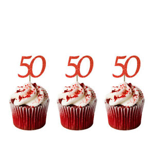 Image Is Loading 50th Cupcake Toppers Glittery Red Pack Of 10