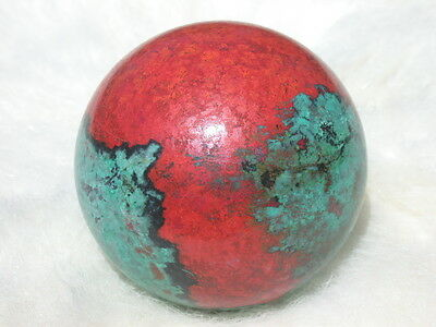 """2"""" CHRYSOCOLLA CUPRITE SPHERE RARE RED GREEN TURQUOISE SONORA SUNSET BALL"""