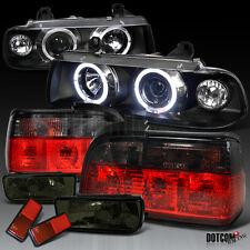 92-98 BMW E36 2Dr 3-Series Black Halo Pro Headlight+Smoke Tail Lamp+Fog Lights