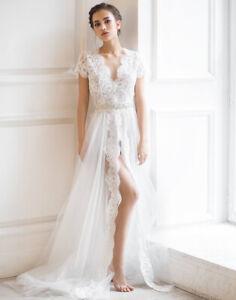 Ivory Lace Bridal Robe Bridesmaid Robe Wedding Party Sleepwear Sexy Night Gown Ebay,Princess Wedding Dresses Long Train
