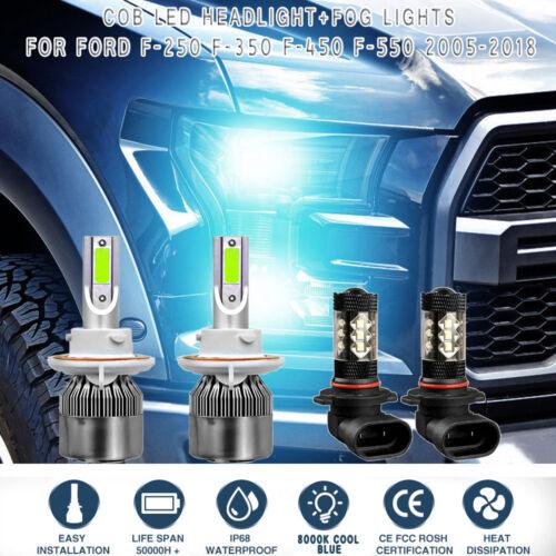 2Pcs COB LED Headlight Kit 8000K Ice Blue for Ford F250 350 450 550 2001-2018