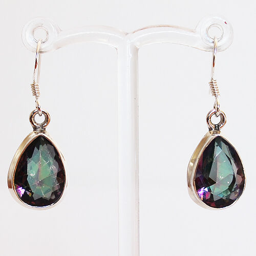 925 Sterling Silver Semi-Precious Mystic Topaz Natural Stone Earrings