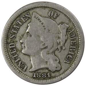 1881-Three-Cent-Piece-VG-Very-Good-Nickel-3c-US-Type-Coin-Collectible