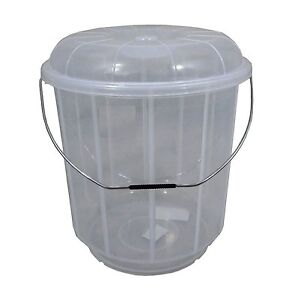 Image Is Loading Large 25l Clear Plastic Bucket With Lid Carry