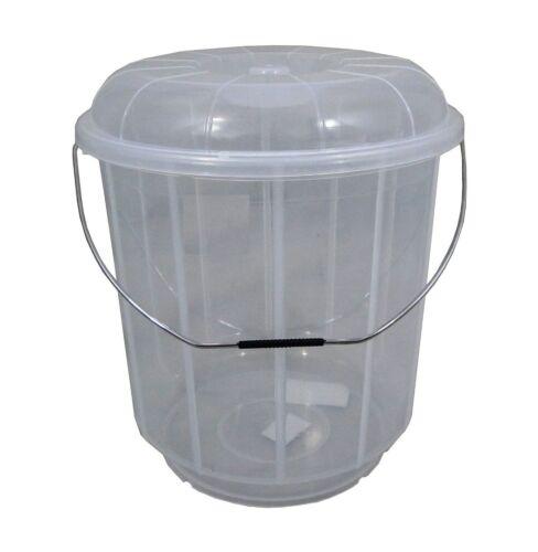 Large 20L en plastique transparent seau avec couvercle poignée de transport conteneur de stockage caddy