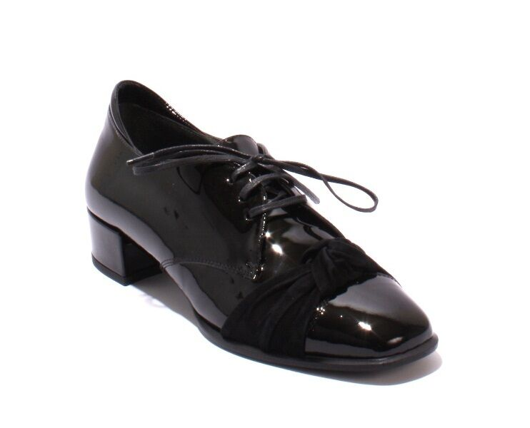 Gibellieri 2044a Black Patent Leather Suede Lace-Up Casual Loafers 37   US 7