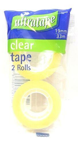 1 Paquete de 2 Rollos de Cinta transparente Ultratape Manualidades Hogar Oficina Escuela 19MM X 33M