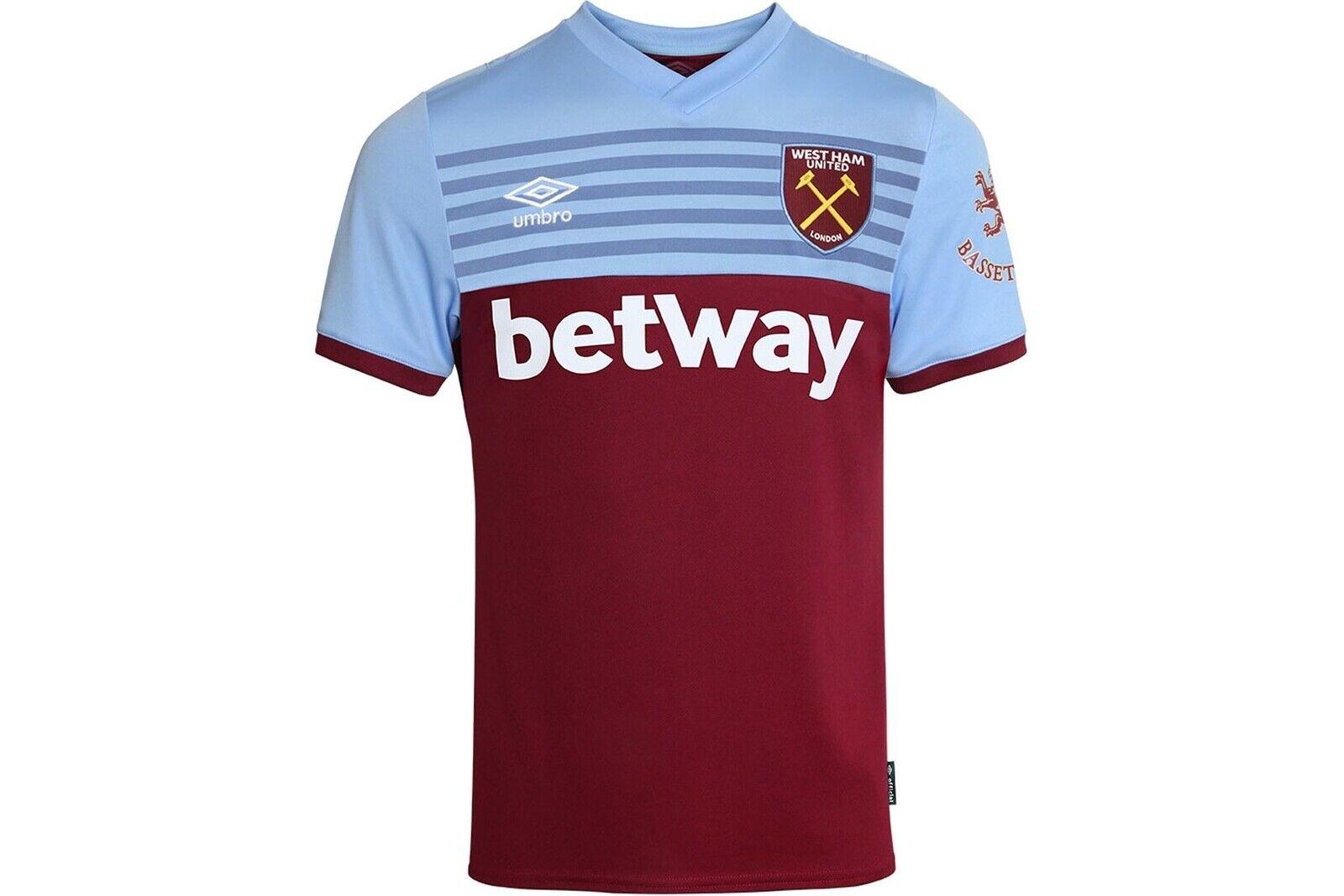 Umbro mannens West Ham United 19 20 Home S S Football Shirt Tshirt Tee Top