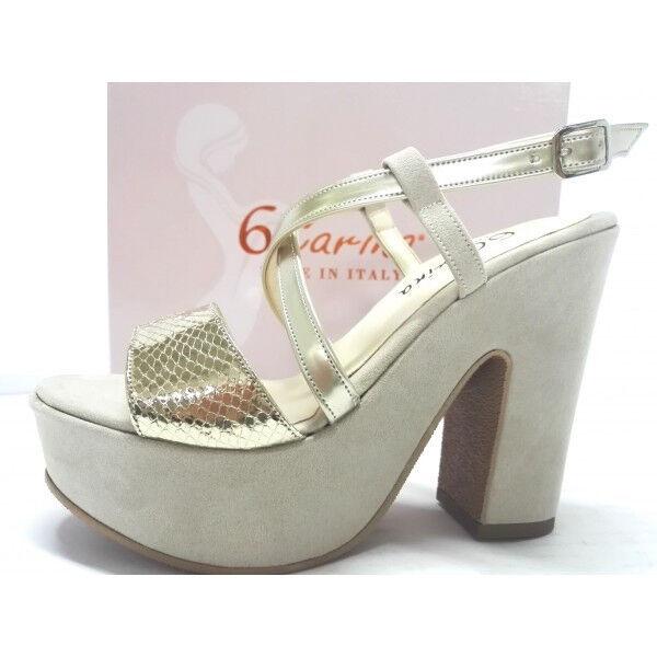 Sandalo alto Donna Scamosciato Tacco 120 Plateau Made In Italy platino fibbia