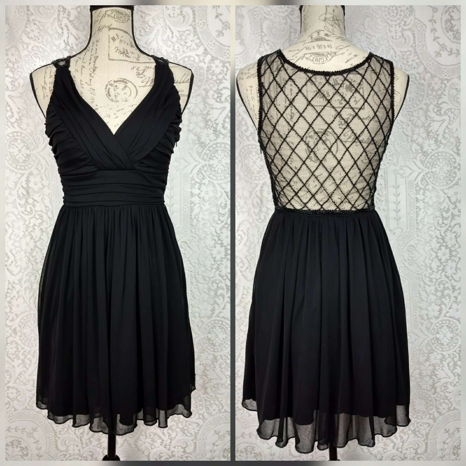 City Triangles damen Little schwarz Cocktail Dress Jr Größe 5 Illusion Beaded Back