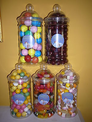 VICTORIAN CHRISTMAS SWEET JARS FILLED WITH TRADITIONAL  RETRO SWEETS 60 VARITIES