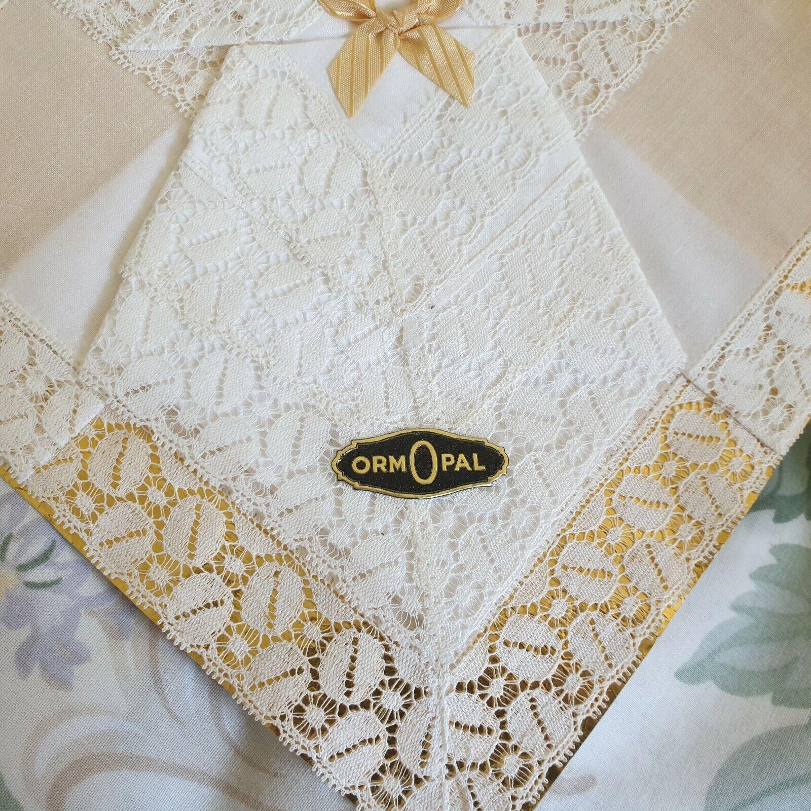 Vintage 50s 60s White Cotton Lace Handkerchiefs x 3