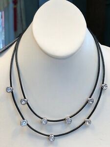Stunning Clear Rhinestones 2 Strand Necklace Statement Leather Chain NWT
