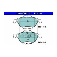 ATE ld7221 Pinza Freno Set Freno a Disco ATE CERAMIC 13.0470-7221.2 ANTERIORI