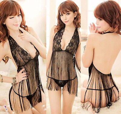 Super Sexy Tassels Corset Lingerie Sleepwear Nightwear-Babydoll Dress + G-string