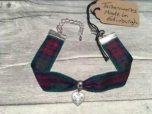 Bracelet-Lindsay-Tartan-w-Heart-Love-my-Dog-Paw-Charm-Link-Made-in-Scotland-NEW